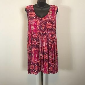 Free People Red Floral Print Dress Attached Slip